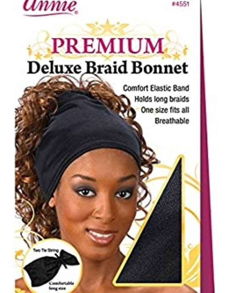 Annie Remi Braid Bonnet Black