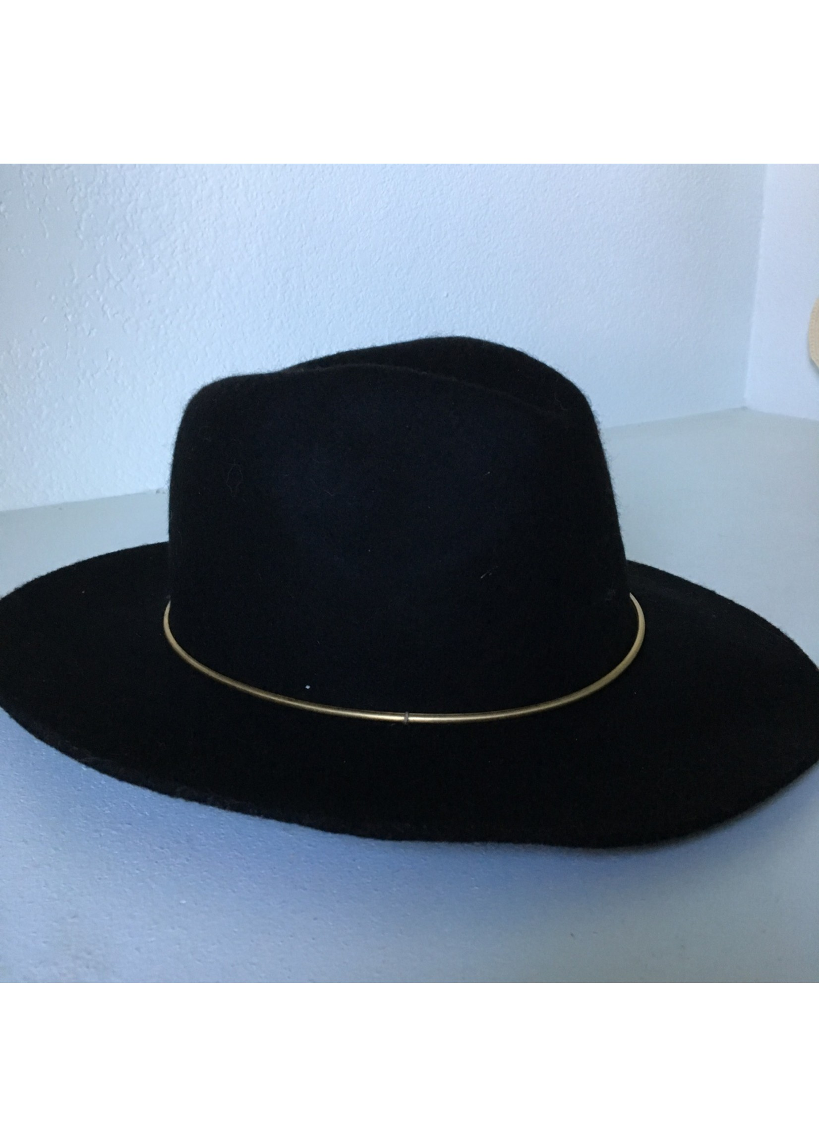 anzell Black Fedora with Gold Detail -Wool