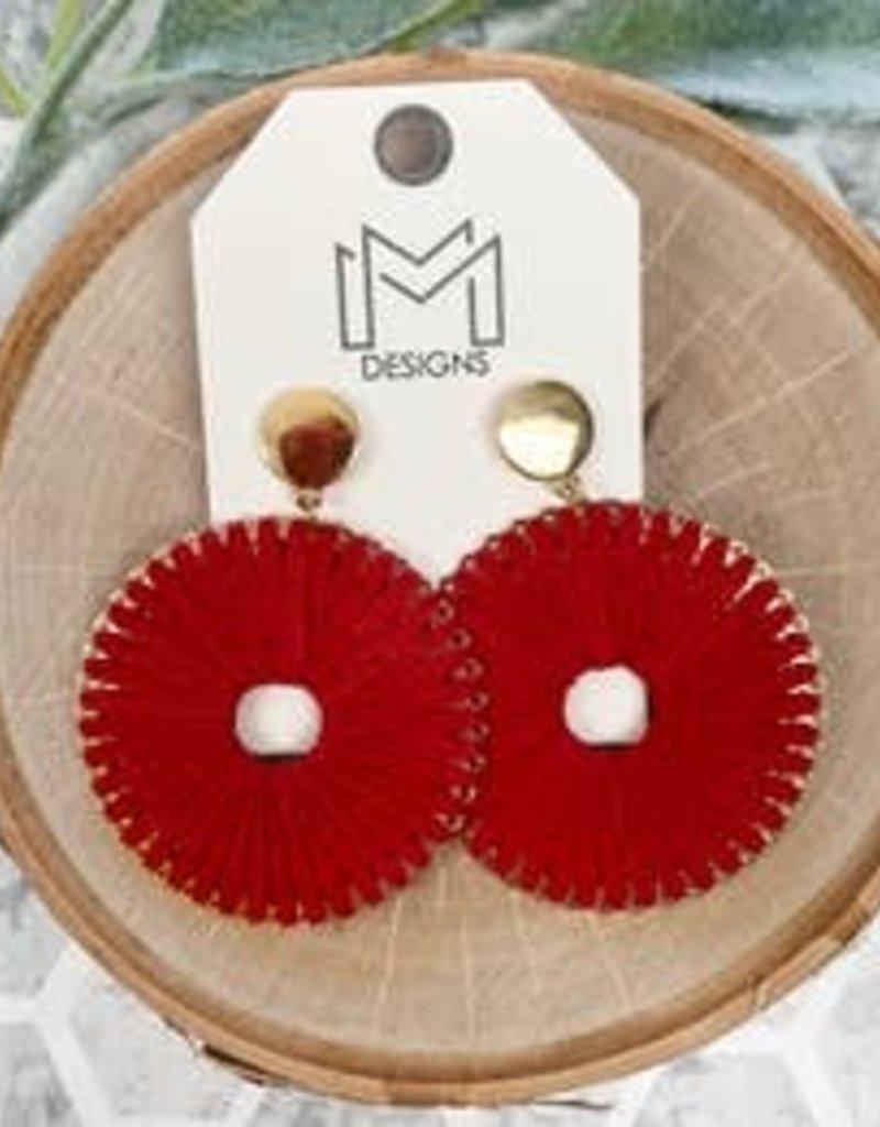 Red Circle Earrings