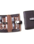 BerkBerk Brown Leather Manicure Set
