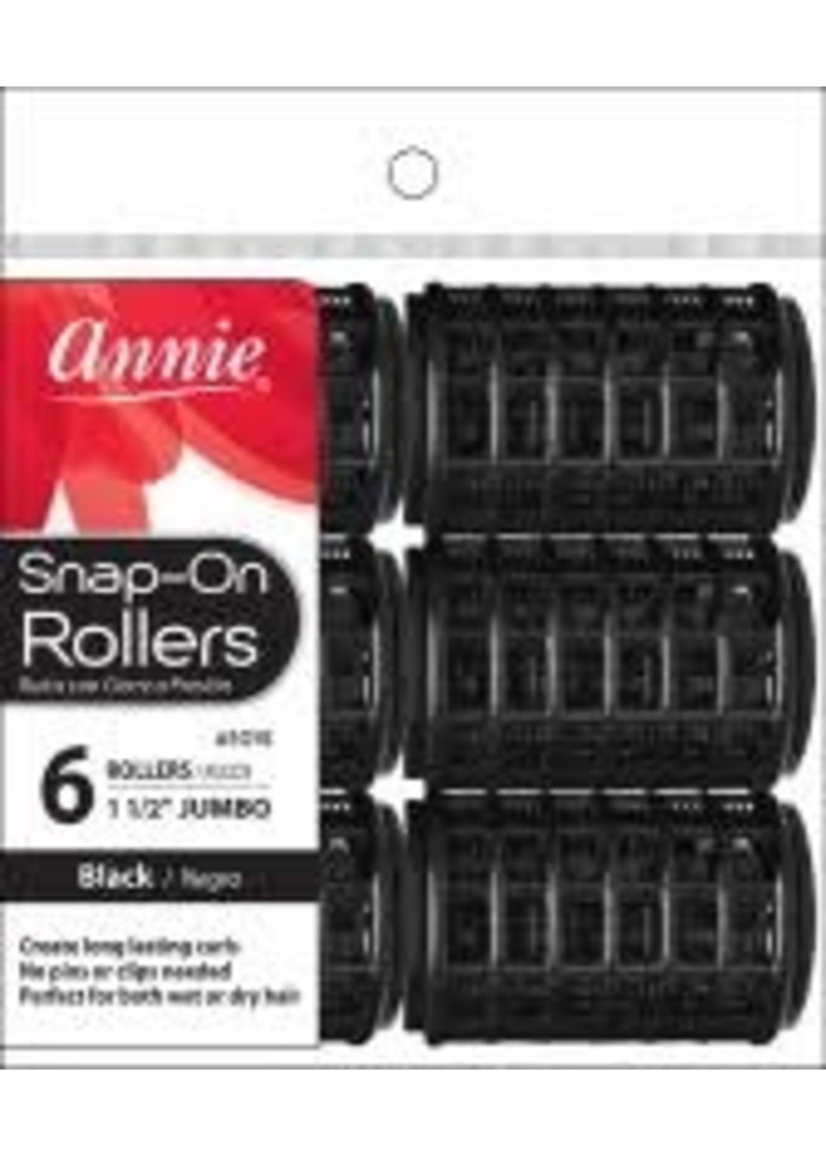 ANNIE ROLLERS SNAP-ON BLACK (JB) 6CT