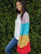 Stripe Fuzzy Cardigan w/Pockets