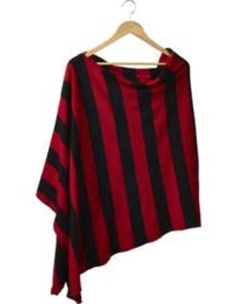 Wide Stripe Poncho Red/Black 26x67