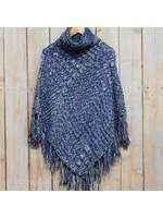 Navy Knit Poncho 36x36