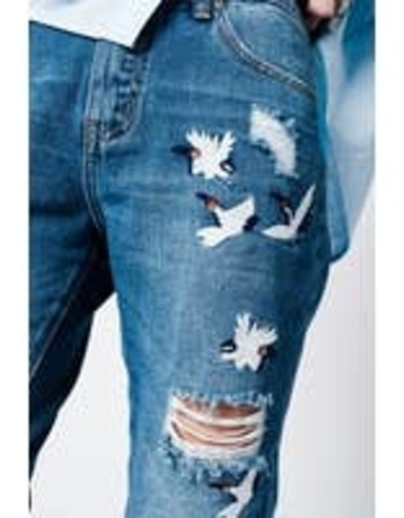Bird Embroidery Jeans