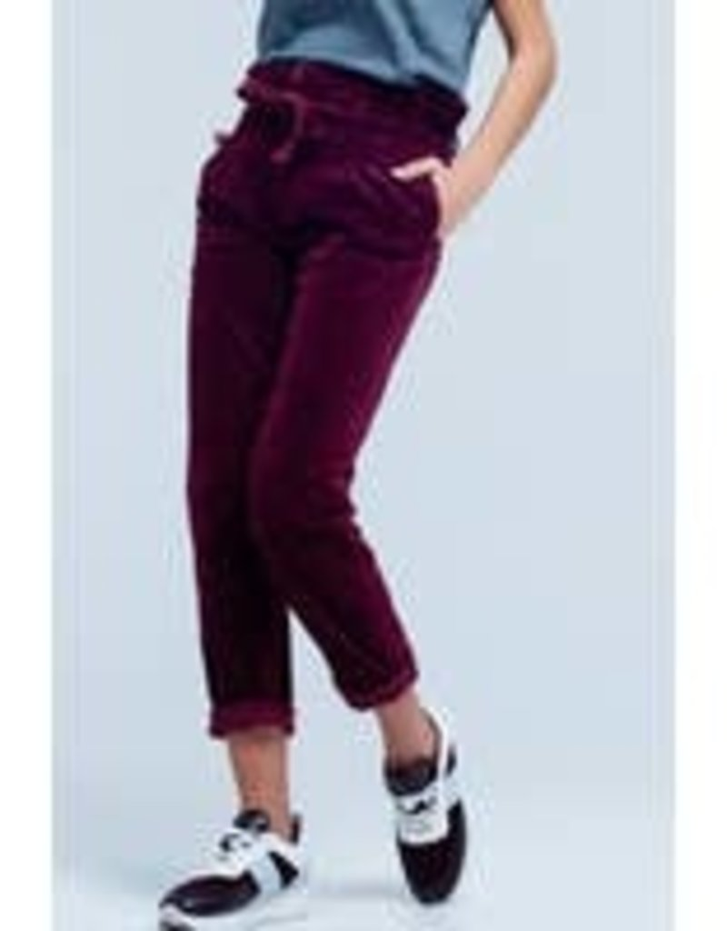 Maroon High Waisted PaperBag Pants