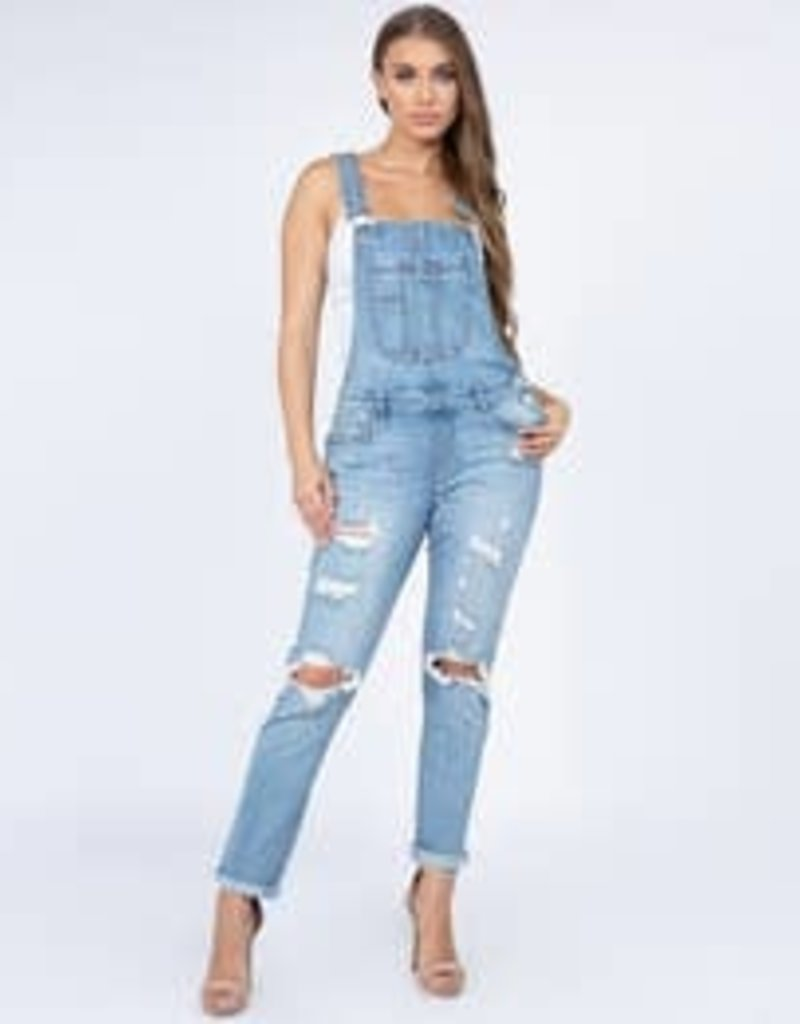Denim Overalls Cut Out Knees