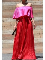 Satin Off Shoulder Maxi Dress