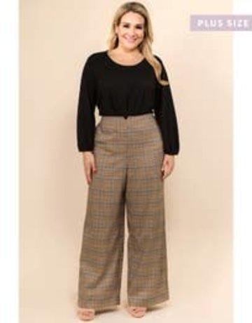Plaid Knit Wide Pants (Plus)