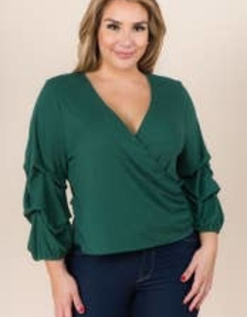 Draping Sleeve Faux Wrap Top