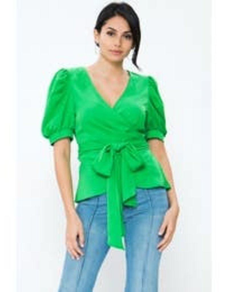 Solid Wrap Top-Green