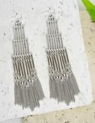 Tier Statement Bar & Tassel Earring/Silver