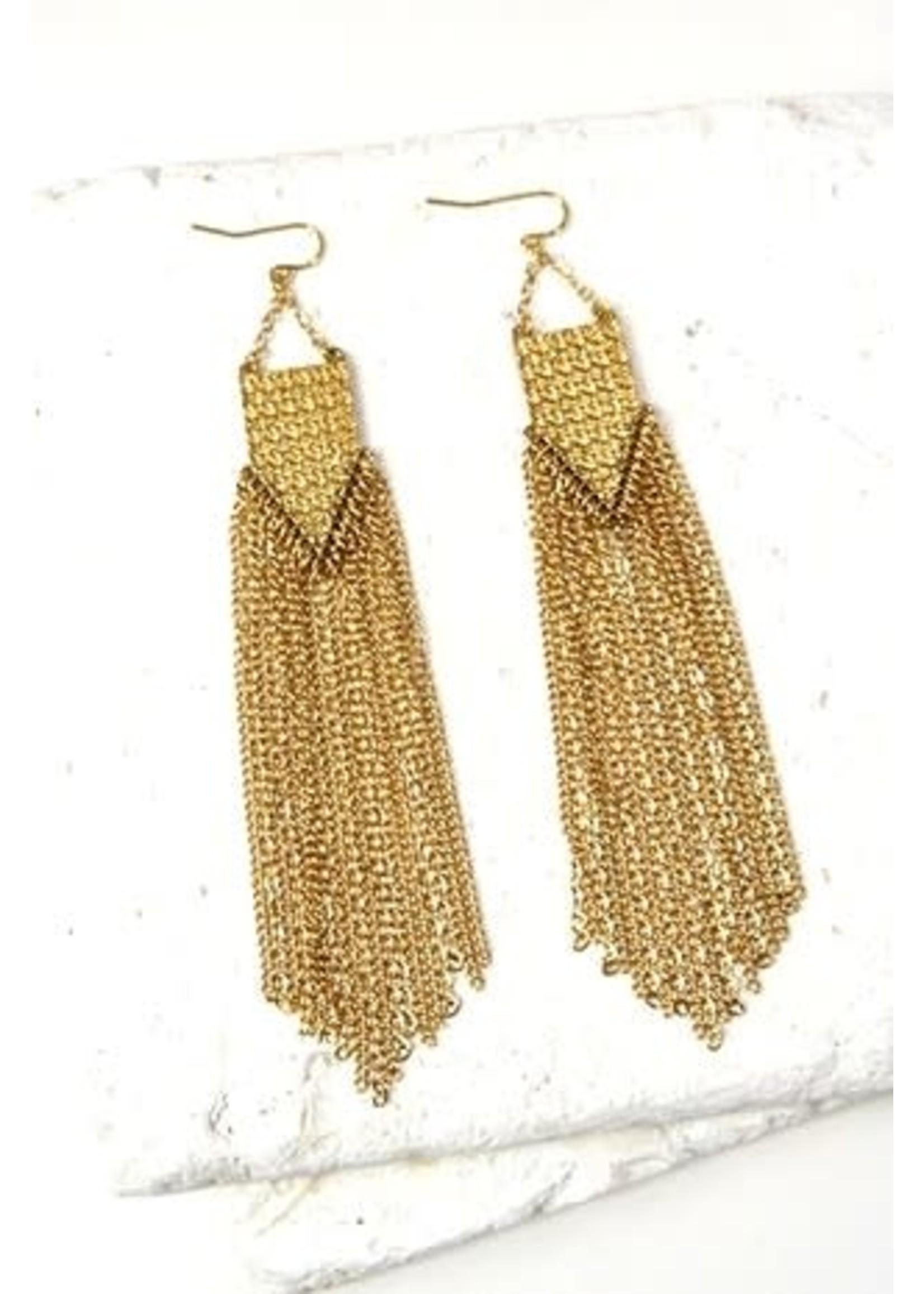 """Gold Fringe Earrings 4.5"""""""