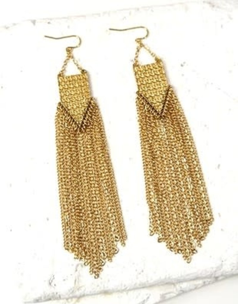 Gold Fringe Earrings 4.5""
