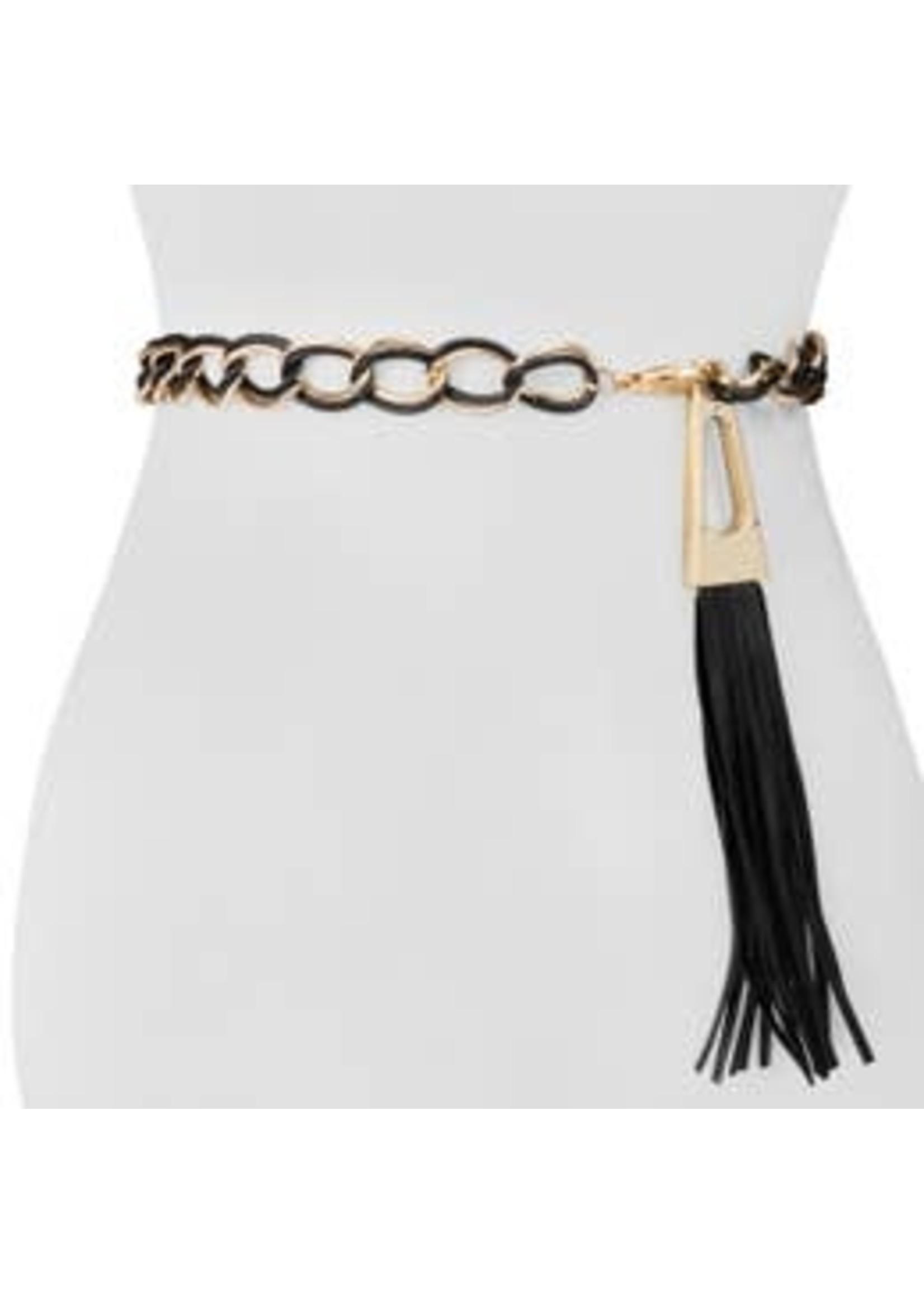 Blk & Gld Chain Leather Tassel Belt