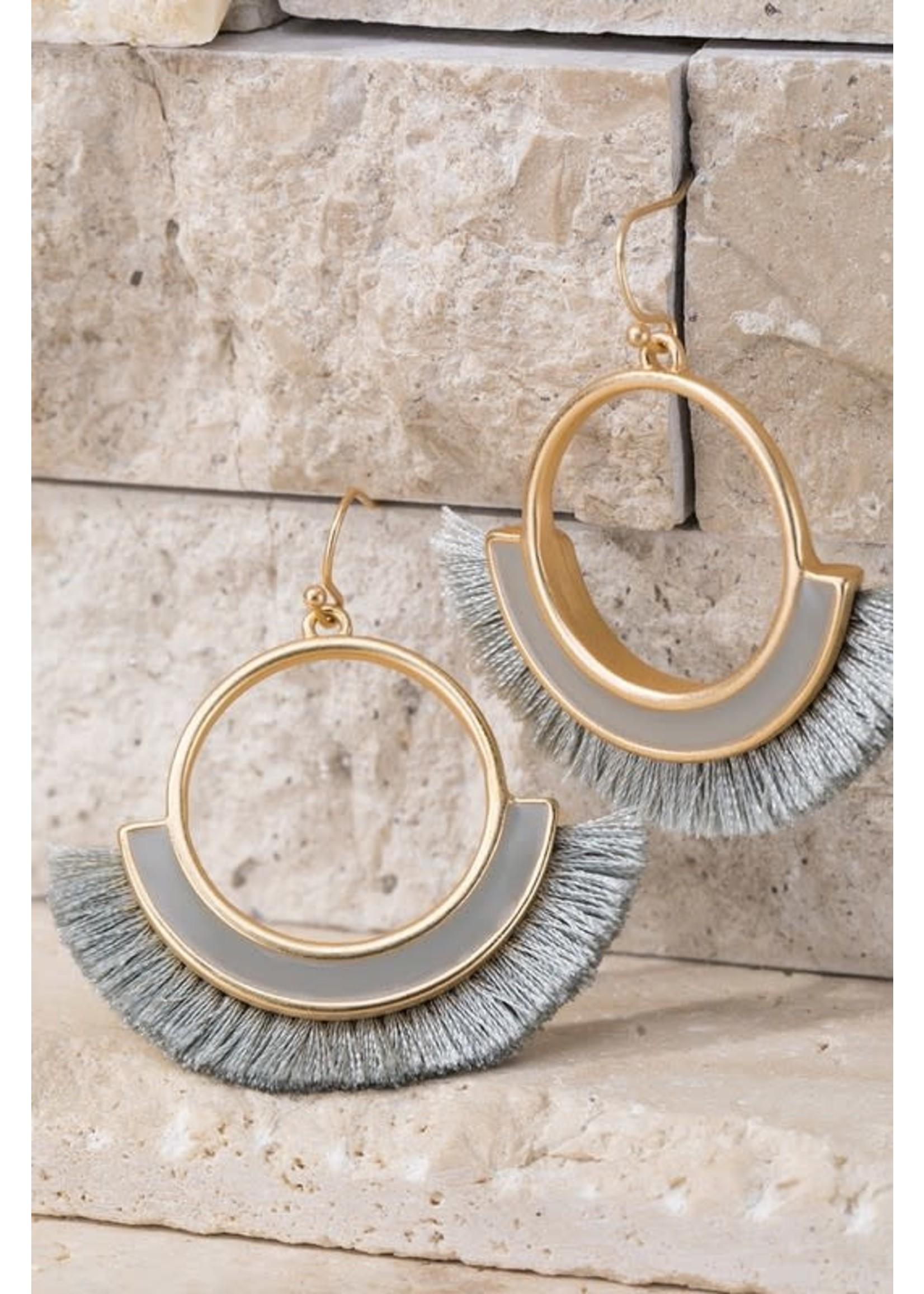 Light Gray Tassel Earrings