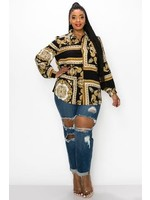 Versace Like Print Blouse (Plus)