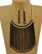 Black & Gold Necklace w/Earrings