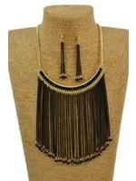 Black & Gold Necklace w/Earrings