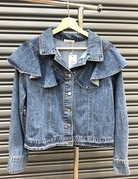 Long Sleeve Ruffle Denim Jacket