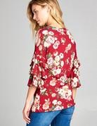 Tunic Blouse Floral Ruffle Top- Burgandy