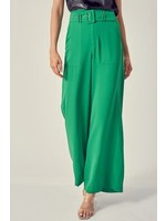Green Self Belted Wide Leg Pants