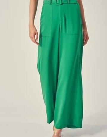 Green Self Belted Wide Leg Pants