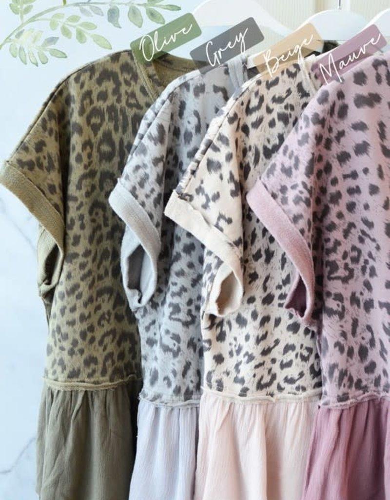 Cute Leopard Top -Army Green