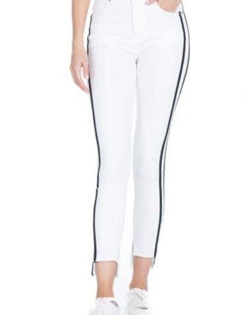 White Denim Black Stripes Pants
