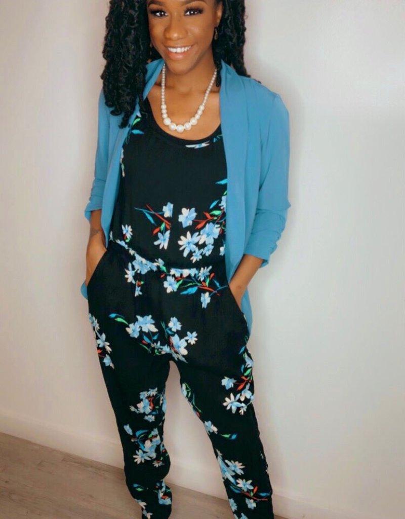 Floral Jumpsuit- Blue Daisy