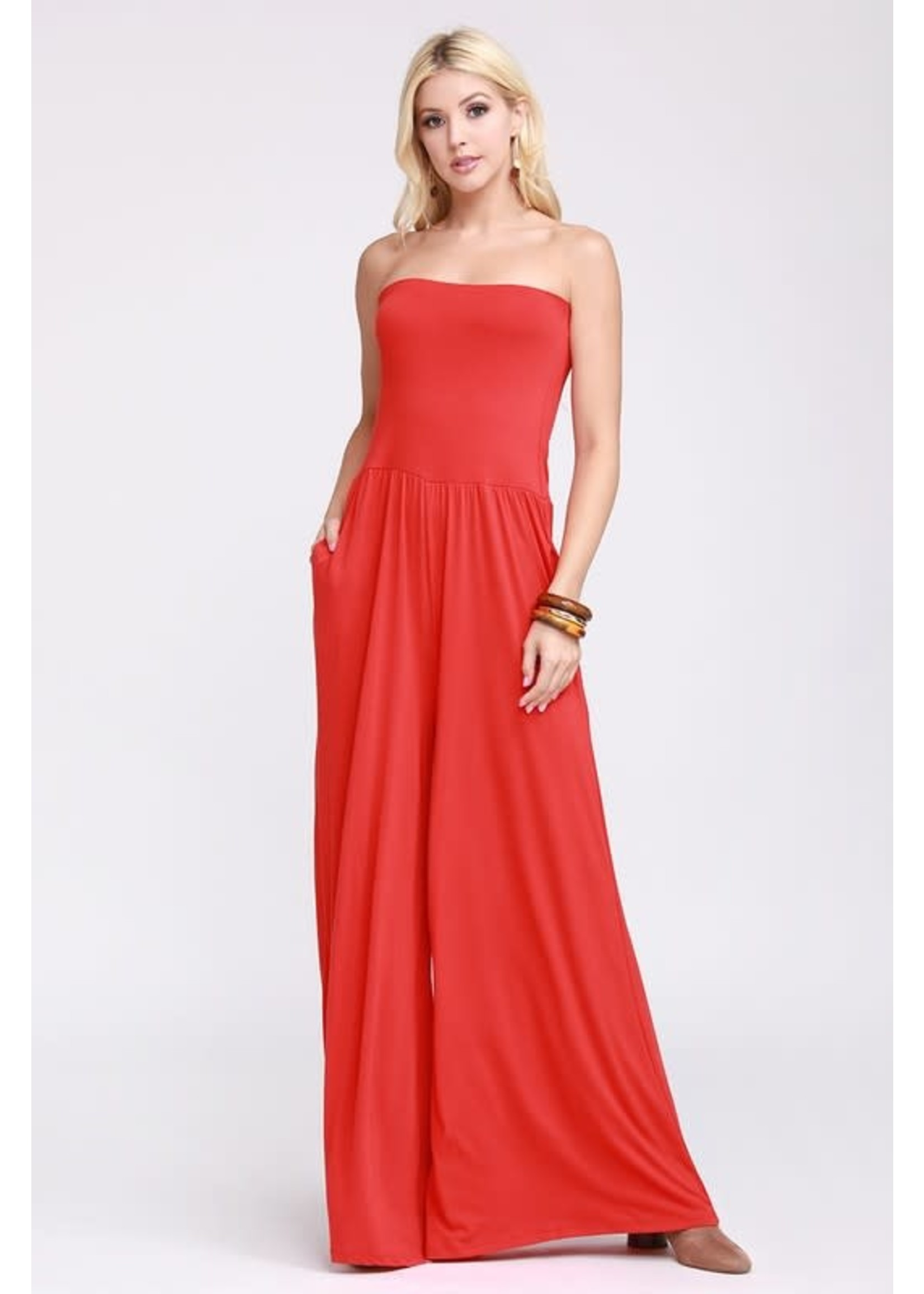 Red Tube Jumpsuit