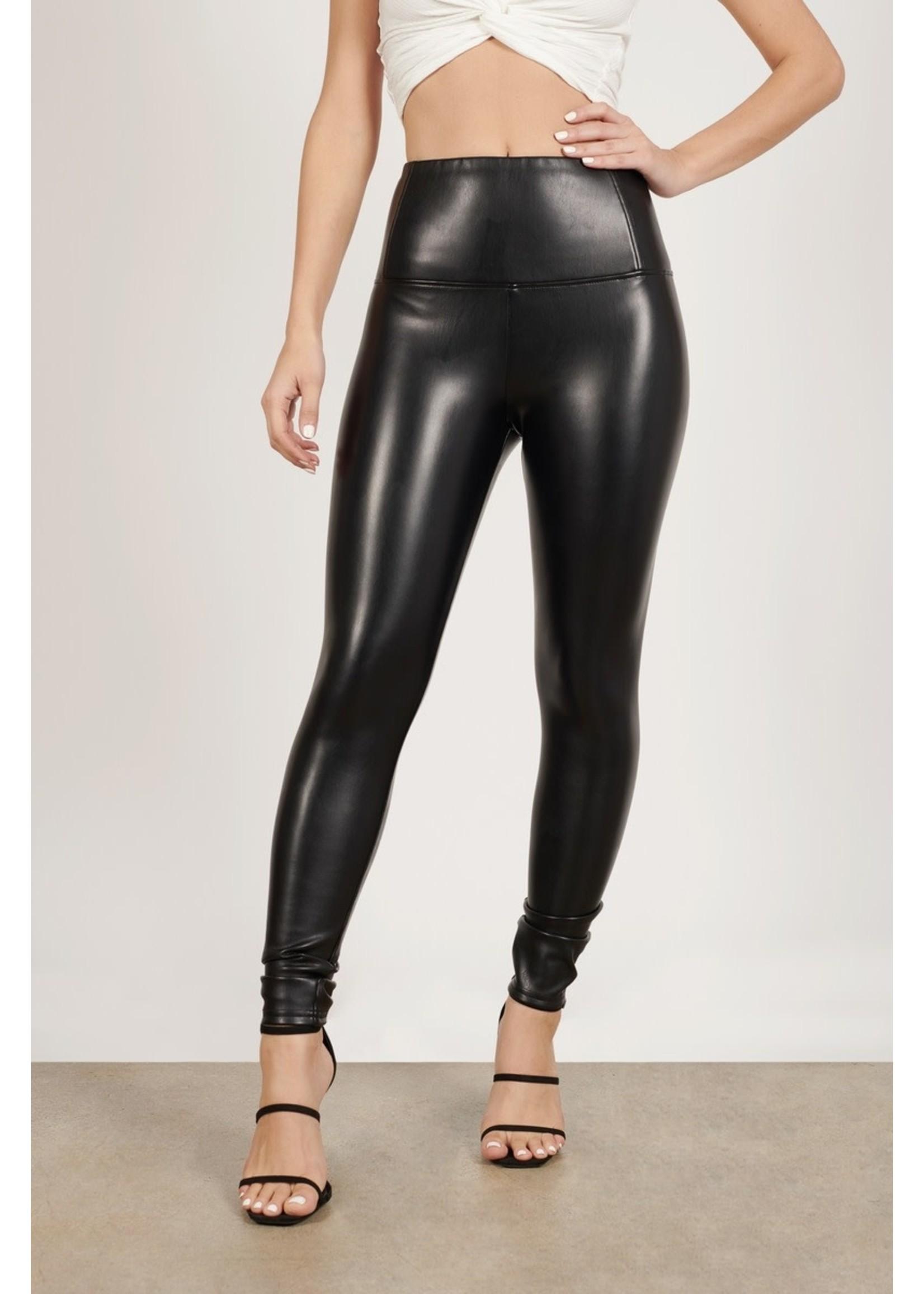 Faux Leather High Waist Skinny Leggings (Black)