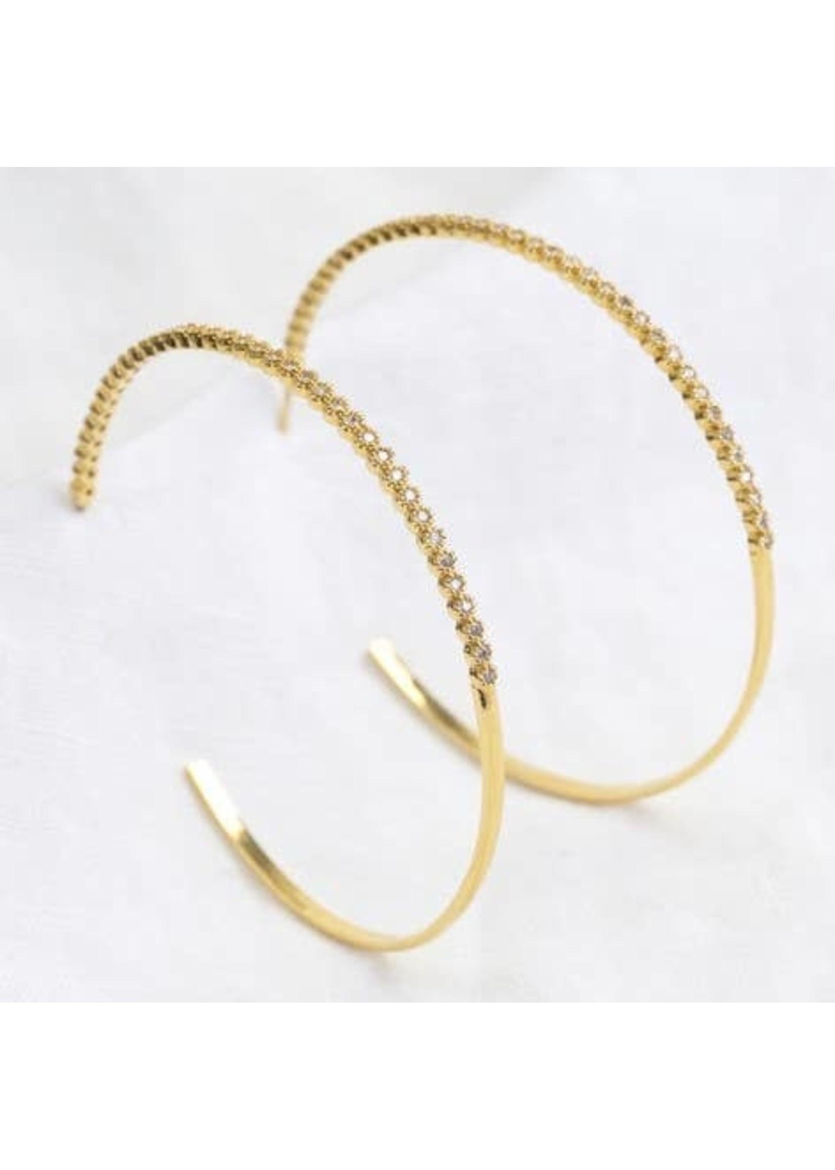 Crystal Hoop Earrings Gold
