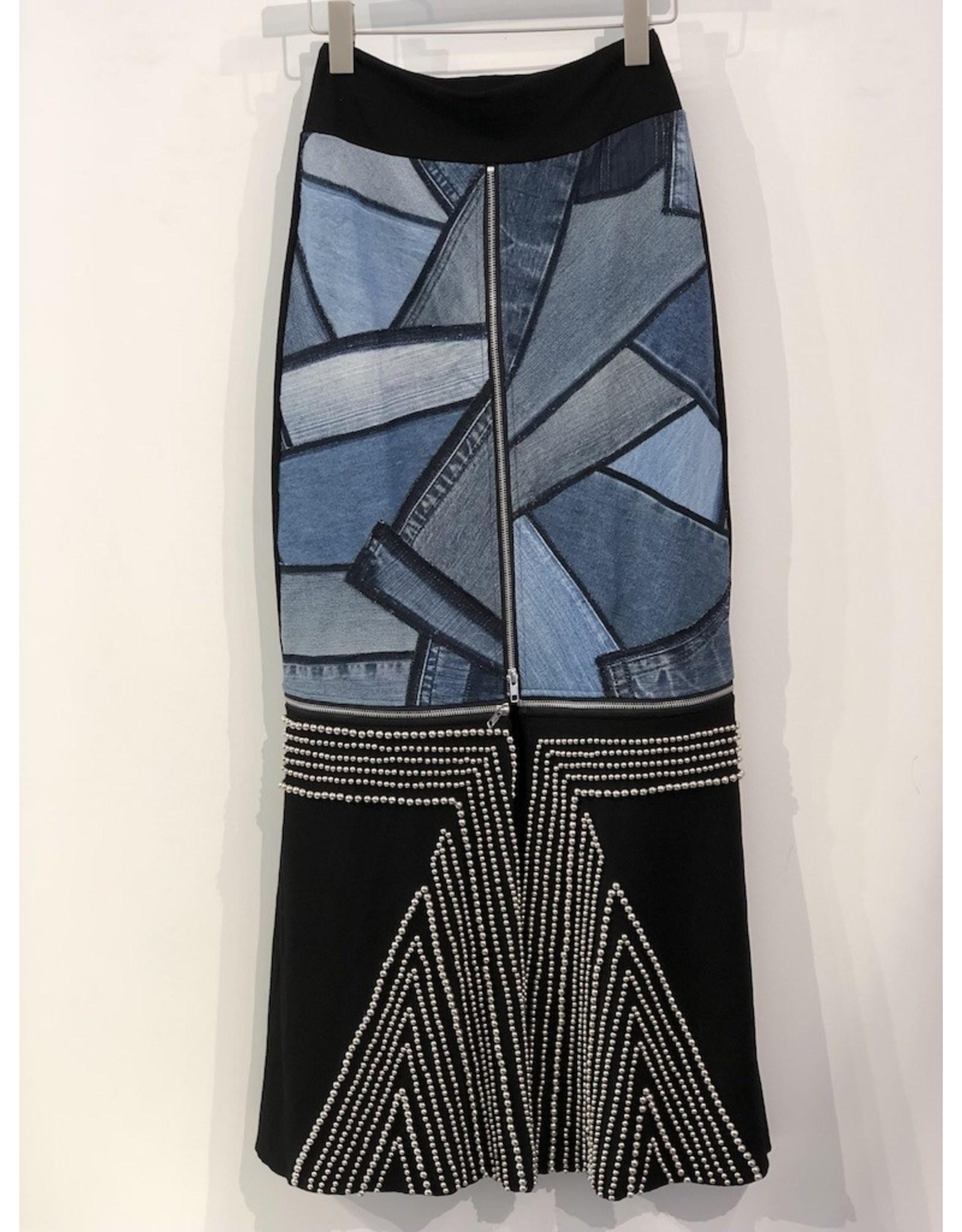 Rock n' Karma Zip Skirt Silver Studs