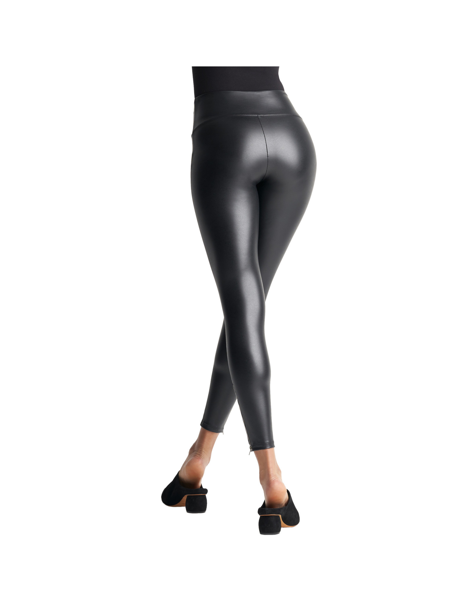 Yummie Faux Leather Shaping Legging with Side Zip