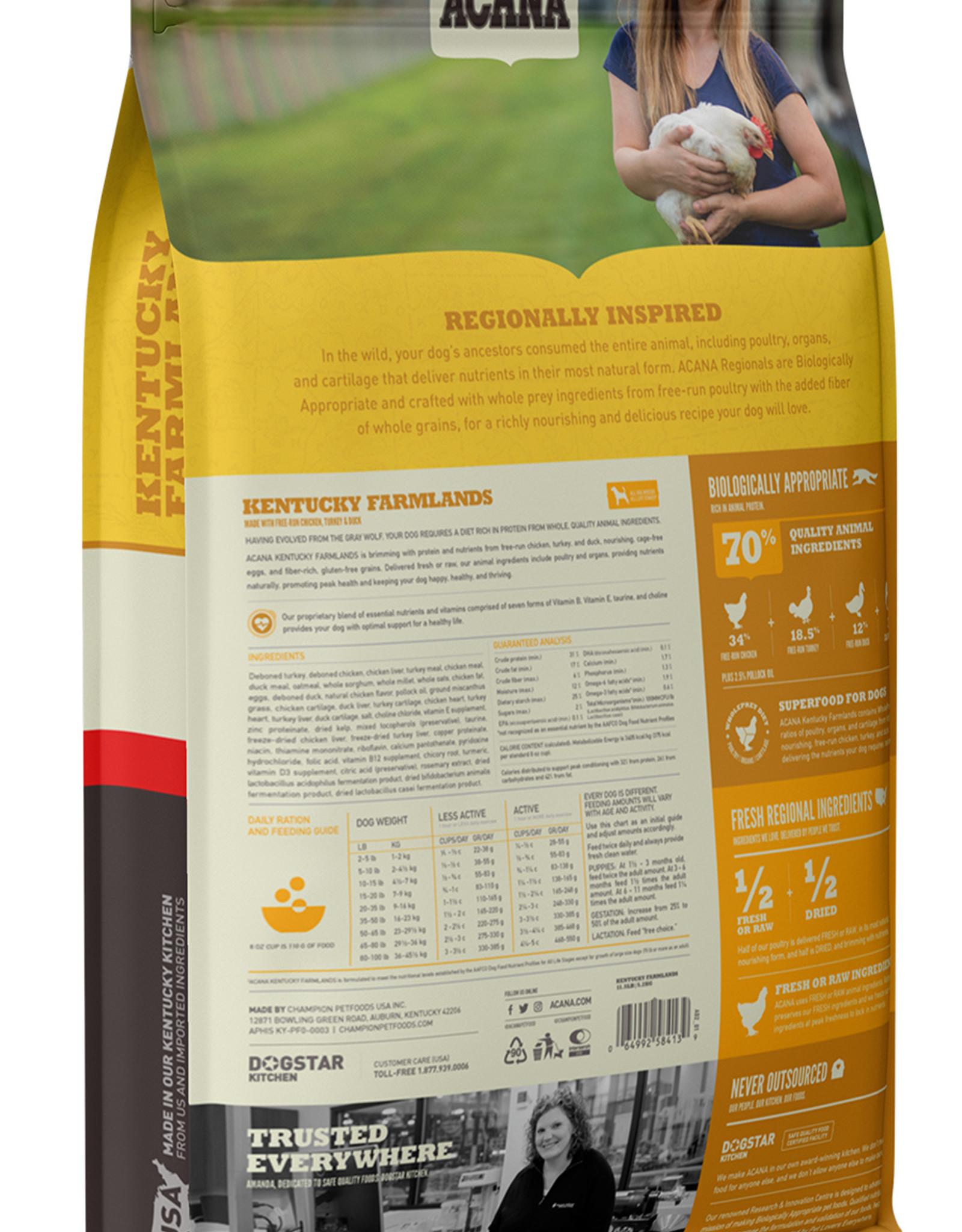 CHAMPION PET FOOD ACANA KENTUCKY FARMLANDS WHOLESOME GRAINS 22.5LBS