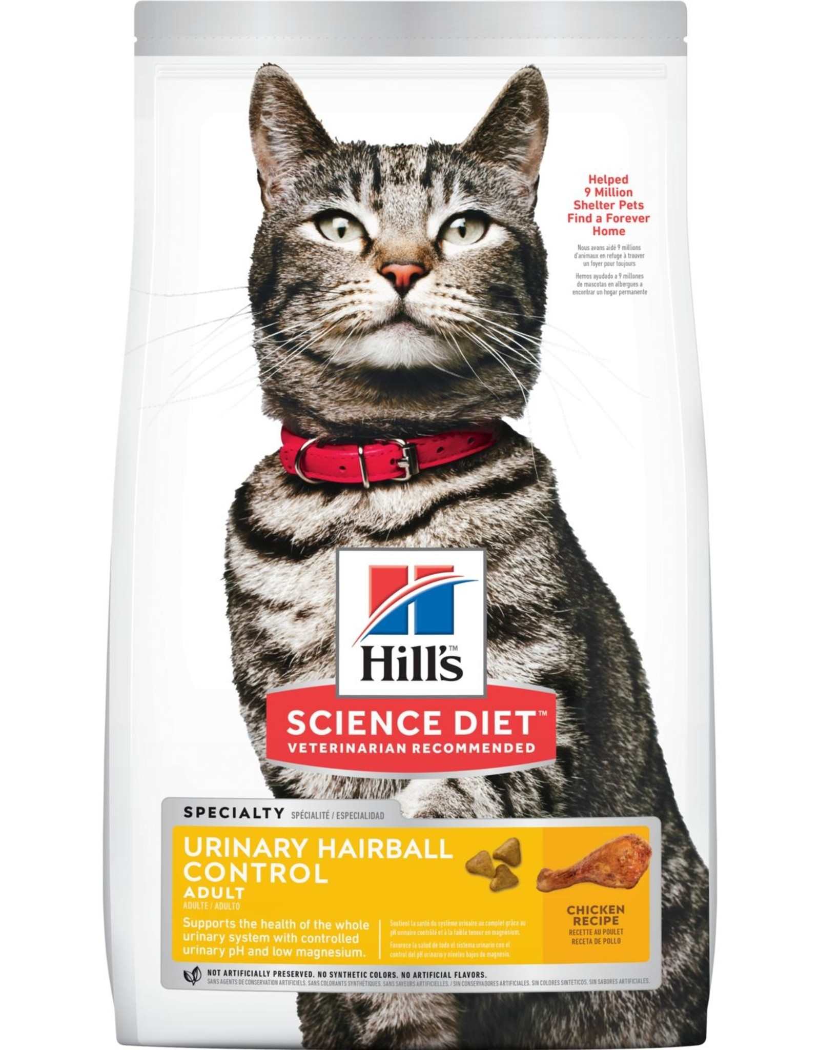 SCIENCE DIET HILL'S SCIENCE DIET FELINE ADULT URINARY/HAIRBALL CONTROL 15.5LBS