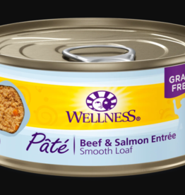 WELLPET LLC WELLNESS CAT CAN BEEF & SALMON 3OZ