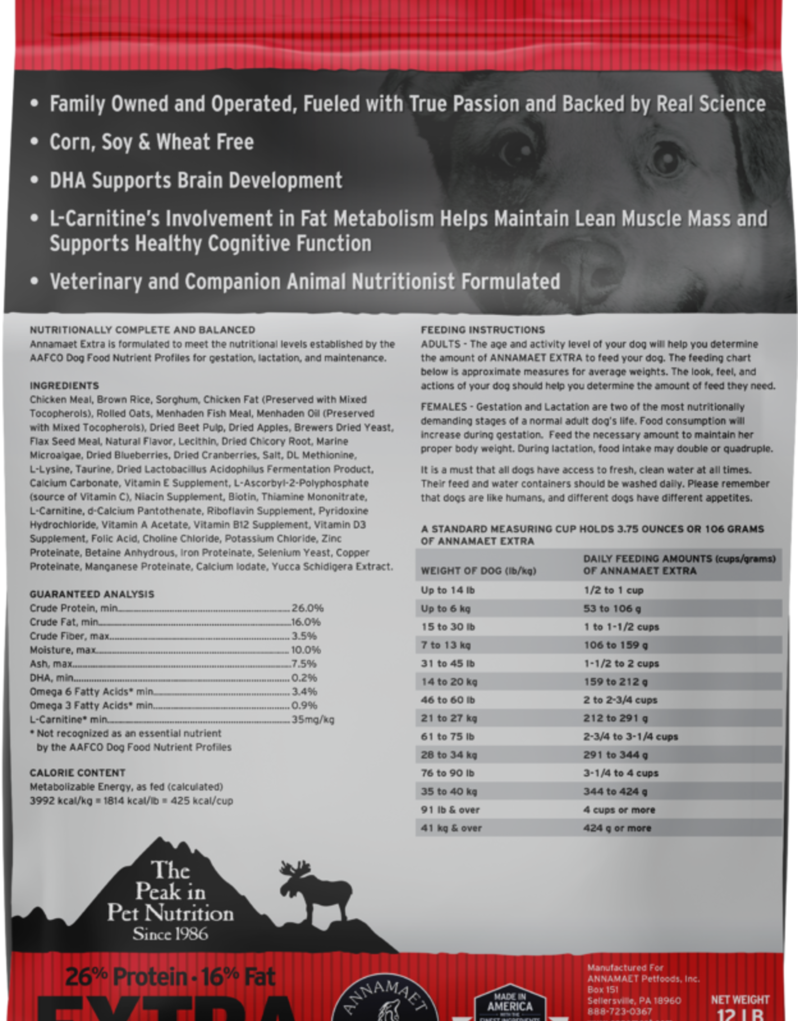Annamaet ANNAMAET DOG EXTRA 26% CHICKEN & RICE 12LBS