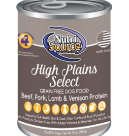 NUTRISOURCE NUTRISOURCE DOG CAN GRAIN FREE HIGH PLAINS SELECT 13OZ CASE OF 12