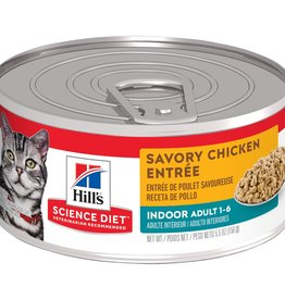 SCIENCE DIET HILL'S SCIENCE DIET FELINE CAN ADULT INDOOR SAVORY CHICKEN 5.5OZ CASE OF 24