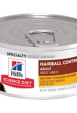 SCIENCE DIET HILL'S SCIENCE DIET FELINE CAN ADULT HAIRBALL CHICKEN 2.9OZ CASE OF 24