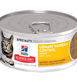 SCIENCE DIET HILL'S SCIENCE DIET FELINE CAN ADULT SAVORY CHICKEN URINARY HAIRBALL CONTROL 5.5OZ CASE OF 24