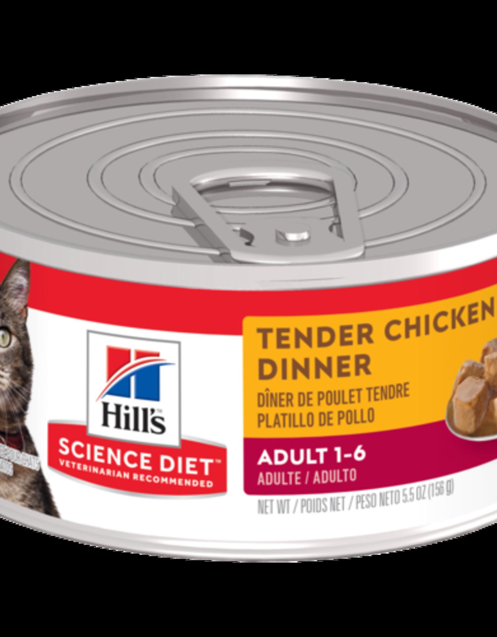 SCIENCE DIET HILL'S SCIENCE DIET FELINE CAN ADULT TENDER CHICKEN DINNER 5.5OZ CASE OF 24