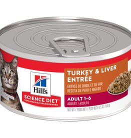 SCIENCE DIET HILL'S SCIENCE DIET FELINE CAN ADULT TURKEY & LIVER 5.5OZ CASE OF 24