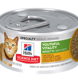 SCIENCE DIET HILL'S SCIENCE DIET FELINE ADULT 7+ YOUTHFUL VITALITY CHICKEN & VEGETABLE STEW 2.9OZ CASE OF 24