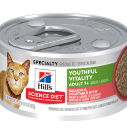 SCIENCE DIET HILL'S SCIENCE DIET FELINE ADULT 7+ YOUTHFUL VITALITY SALMON & VEGETABLE STEW 2.9OZ CASE OF 24