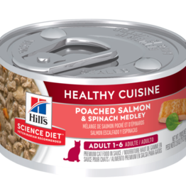 SCIENCE DIET HILL'S SCIENCE DIET FELINE HEALTHY CUISINE ADULT SALMON & SPINACH 2.8OZ CASE OF 24