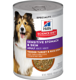 SCIENCE DIET HILL'S SCIENCE DIET CANINE TURKEY & RICE STEW ADULT SENSITIVE STOMACH & SKIN 12.8OZ CAN