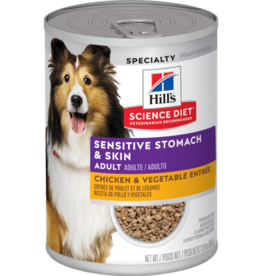 SCIENCE DIET HILL'S SCIENCE DIET CANINE ADULT CHICKEN SENSITIVE STOMACH & SKIN 12.8OZ CAN CASE OF 12